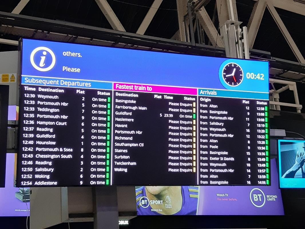 Infotec installs new colour mainboard at Waterloo Station
